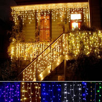 CNSUNWAY 6m x 3m Christmas Wedding Party Background Holiday Running Water Waterfall Water Flow Curtain LED Light String