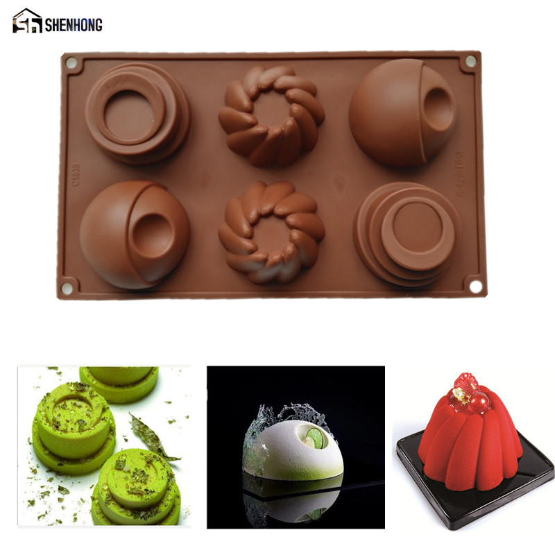 SHENHONG 1PCS 6 Hole Multi Style 3D Art Cup Cake Moule Chocolate Silicone Mold Mousse Si ...