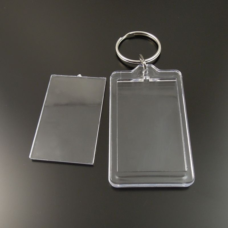 8PCS Transparent Clear Rectangle Photograph Case Keychain Keyrings Keychain Women Men Lo ...