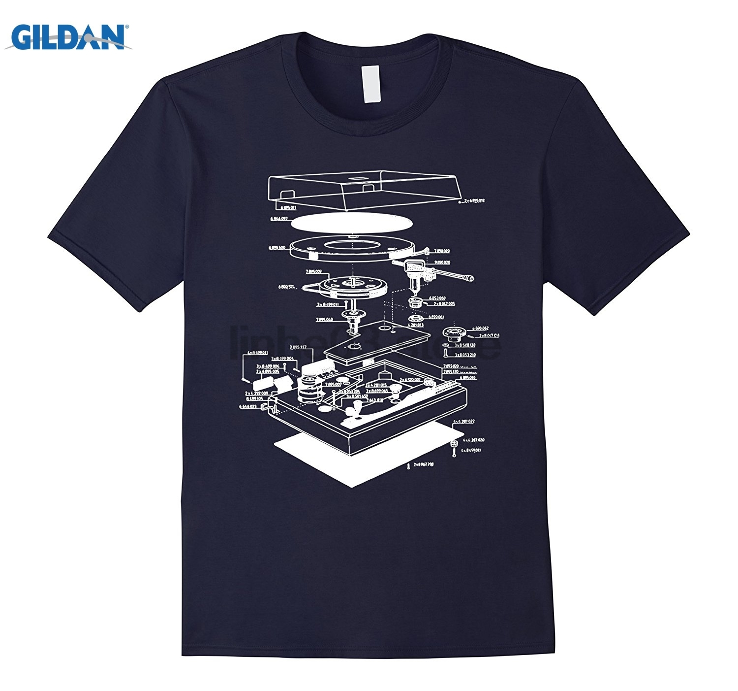 GILDAN Turn table shirt - dj shirt - turn table schematic dress T-shirt sunglasses women T-shirt