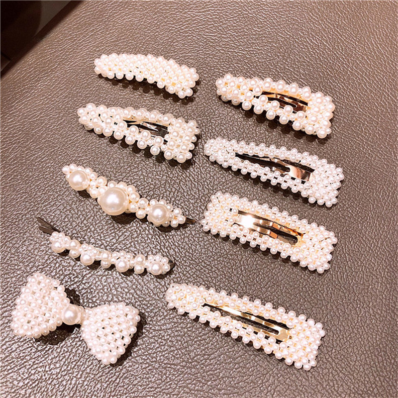 Korea Handmade Water drop Bowknot Square Pearl Women Girls Barrettes Hairpins Hair clips Head wear Accessories-JQAWHRP003C5