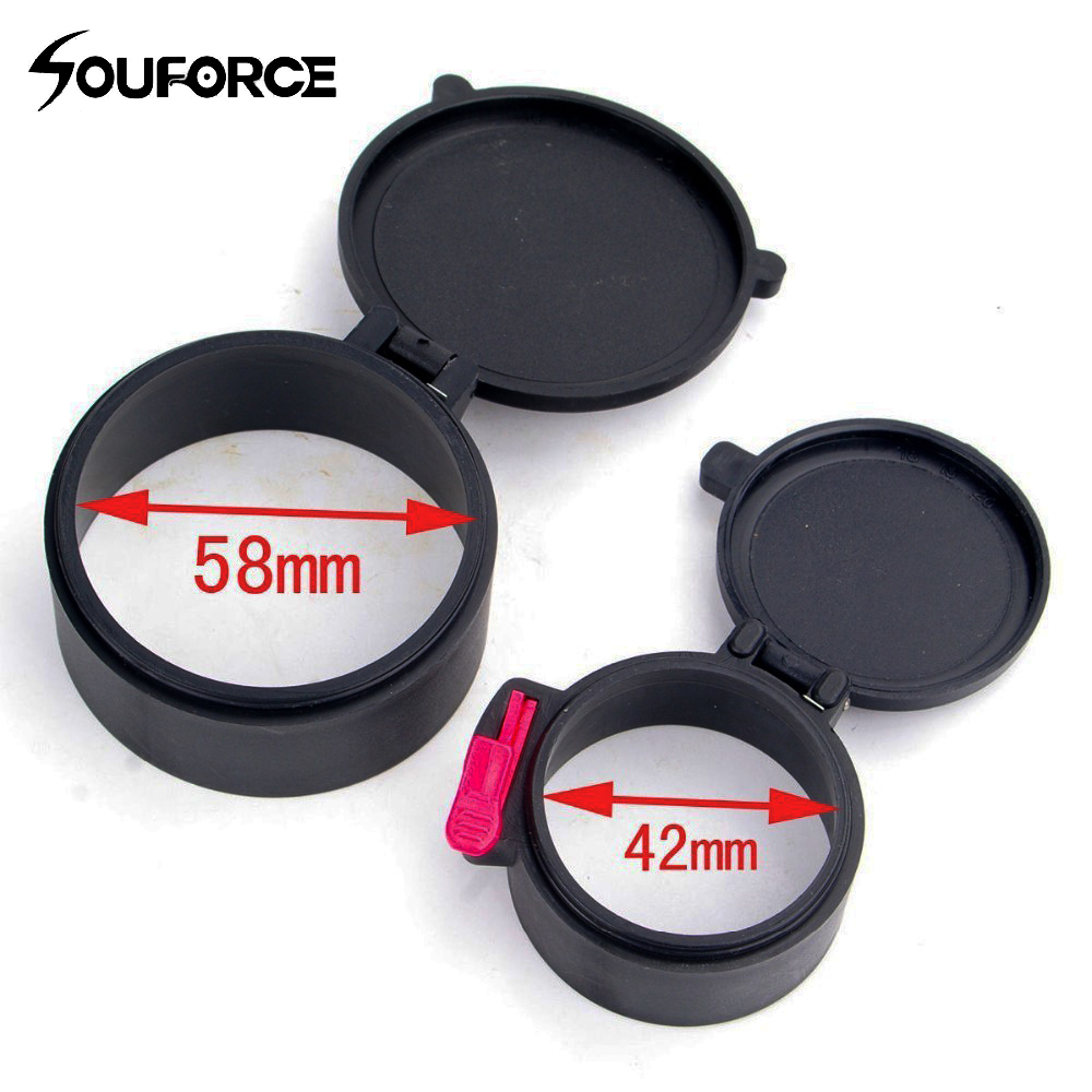 58mm And 42mm Anti-dust Scope Lens Cover Flip Cap Thumb Flip Open Lens Gun Cover Dustproof For Scope Rifle Hunting