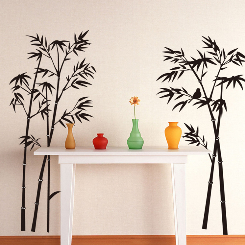 Free Shipping Large Removable Living Room Bedroom TV Backdrop Black Bamboo  Mural Decal Wall Stickers 120CM*110CM In Wall Stickers From Home U0026 Garden  On ...