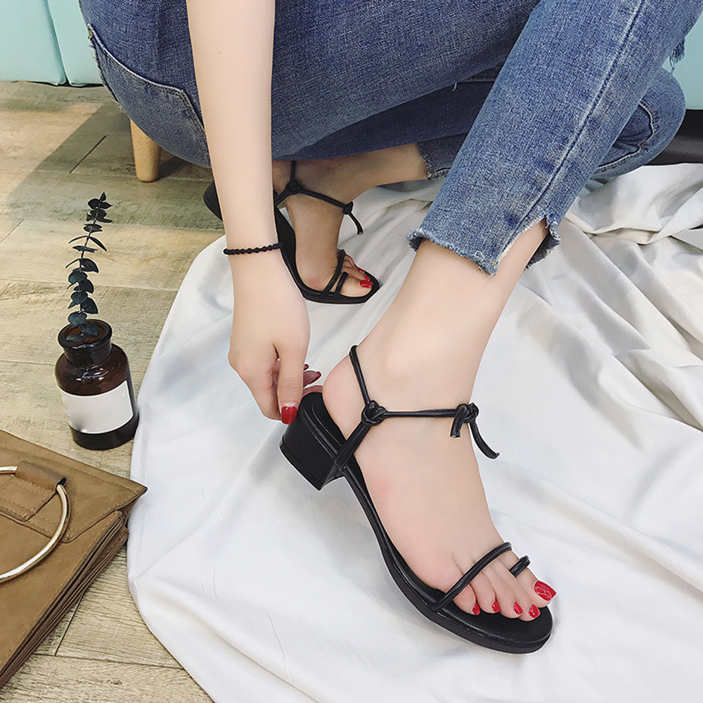 Roman Women Shoes Cross Straps Mid-Heeled Comfort Sandals Summer Size 35-39 Rough Root Vacation Open Toe Gladiator Sandalias
