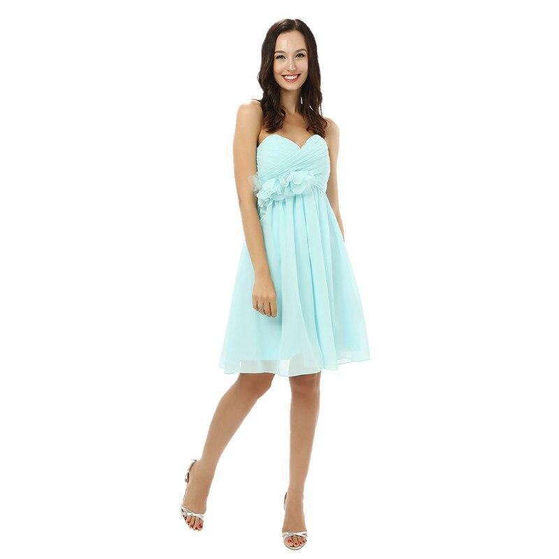 Bleu clair adolescente Grils robes de bal 2019 pas cher expédition rapide genou longueur en mousseline de soie robes de Demoiselle D'honneur Robe Demoiselle D'honneur