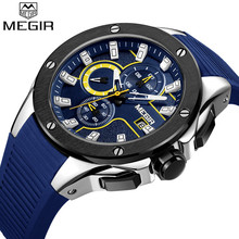 MEGIR Men Watch Top Luxury Brand Chronograph Calendar Sport Wristwatch Military Blue Rubber Male Clock Relogio Masculino 2053