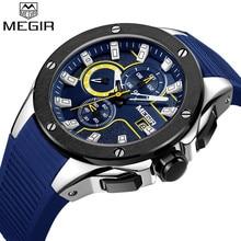 MEGIR นาฬิกาผู้ชาย Top Luxury ยี่ห้อ Chronograph ปฏิทินกีฬานาฬิกาข้อมือยางสีฟ้าชายนาฬิกา Relogio Masculino 2053