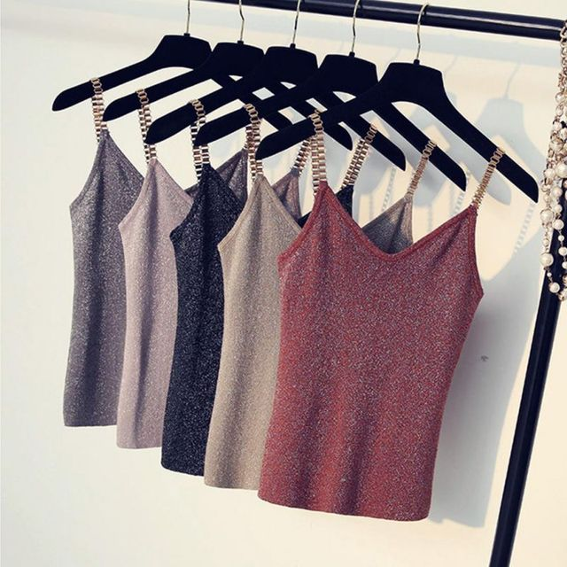Sexy V-Neck Sleeveless Knitted Camisole Metal Strap Thin Shiny Glitter Bling Tops