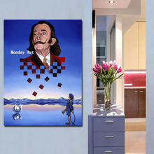 Modern handmade Salvador Dali Blue Portrait Painting Art Canvas paintings Wall pictures Cuadro For Living Room Decor
