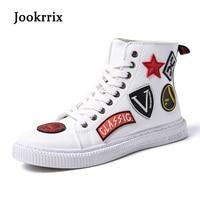 Jookrrix 2018 Весенняя мода бренд Обувь для отдыха Для мужчин высокие Белая обувь дышащая Молодежные мужские тапки хорошее качество с перекрестн...