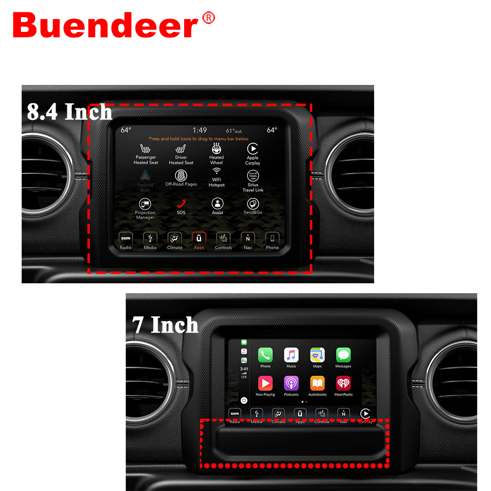 US $8 29 |Buendeer GPS Screen protector for Jeep Wrangler JL Uconnect 2018  2019 Car Interior Accessories Navigation Tempered film 7/8 inch-in Interior