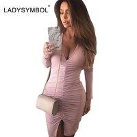 LADYSYMBOL Pink Knitted Autumn Winter Dress Women Elegant Bodycon Dress Casual Sexy Club V Neck Long
