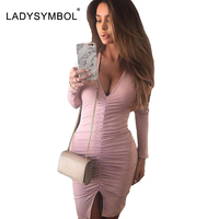 LADYSYMBOL Pink Knitted Autumn Winter Dress Women Elegant Bodycon Dress Casual Sexy Club V Neck Long