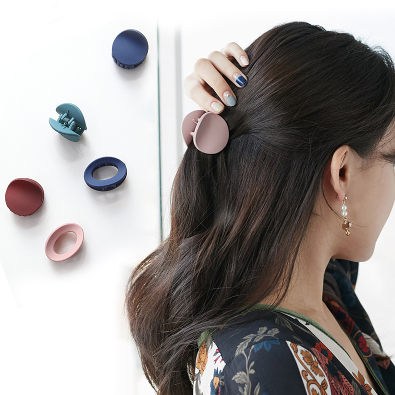 Fashion Women's Round Square Oval Small Trolley Macaron Color Hair Card Pure Acrylic Hair Clip Side Clip Fine Hair Accessories