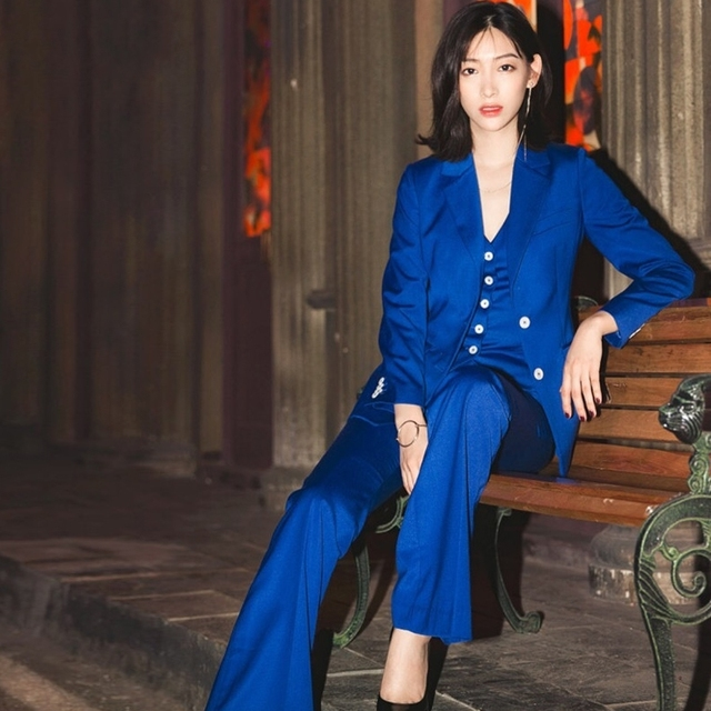 Women Casual Fashion Royal Blue 3 Pieces Set Spring Autumn Blazer Coat + Vest + Flare Long Pants Sets for Office Lady Work Y220