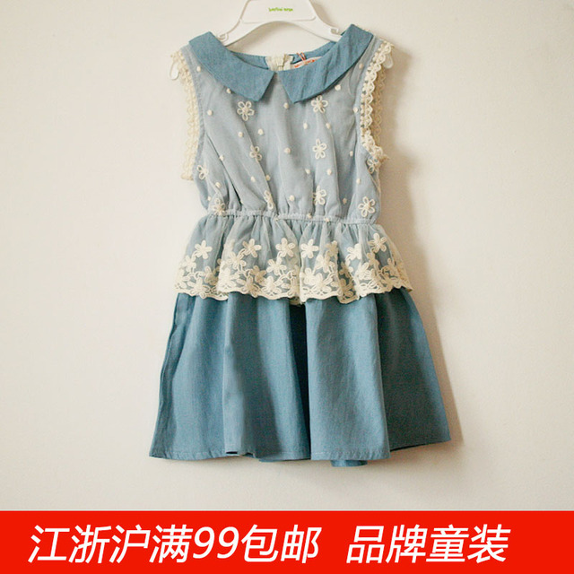 2085 Mumu Cream 2013 Spring And Summer Female Child Faux Denim Lace One Piece Dress Tank Dress Peter Pan Collar En Vestidos De Mamá Y Bebé En