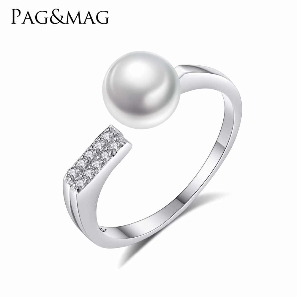 PAG&MAG Charms Romantic Natural Pearl Open Ring for Women Girl Wedding Rings Adjustable Knuckle Finger Silver 925 Jewelry Xmas