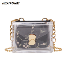 купить BESTFORM New Elegant Shoulder Bag Women Transparent Jelly Bag Flower Print Female Messenger Bags Flap Hasp Crossbody Ladies Bags по цене 913.79 рублей