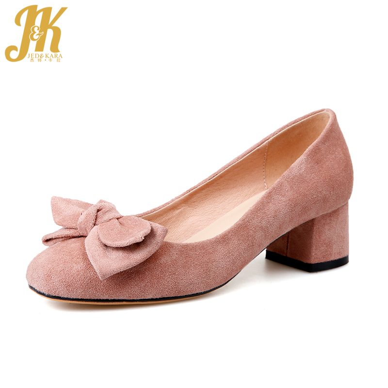 JK Med Heels Women Pumps Butterfly Knot Flock Square Heels Shallow Slip On Footwear 2018 Brand Spring Fashion Sweet Ladies Shoes 2017 spring women retro pumps solid slip on sweet butterfly knot round toe med square thick heels shallow female shoes plus size