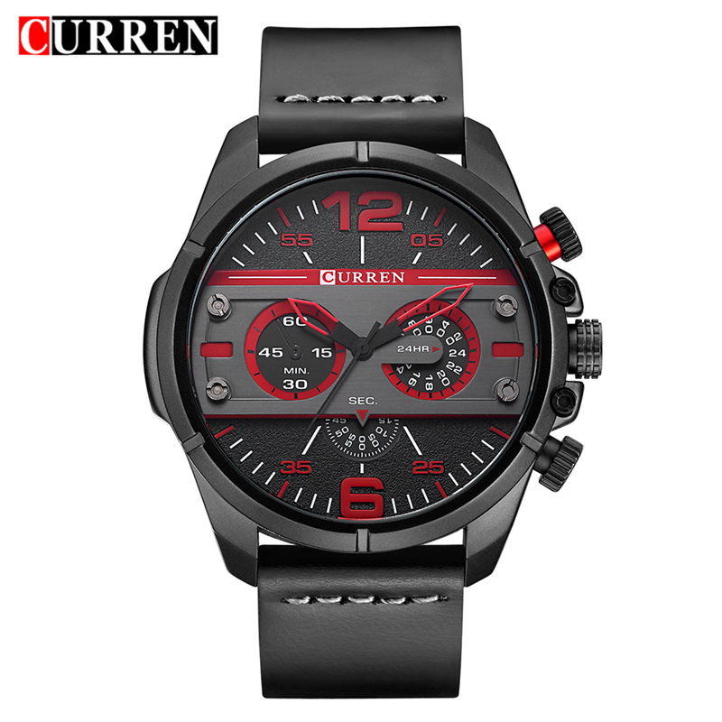 Curren Watch Black Leather Mens Watches Top Brand Luxury Quartz Men Wristwatch Fashion Casual Sport Male Clock Relogio Masculino 2x led car styling red rear bumper reflector light fog parking warning brake tail lamp for toyota vellfire alphard 30 series
