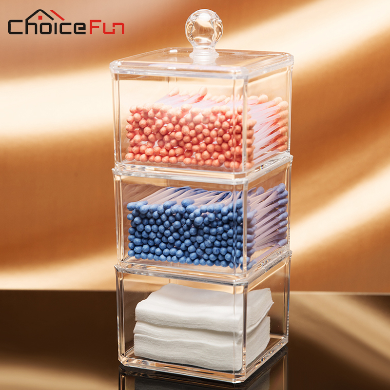 CHOICEFUN Hot Selling Clear Acrylic Storage Container Large Jewelry Box Q  Tip/Cotton Swab Bathroom Storage Organizer SF 1183 In Makeup Organizers  From Home ...