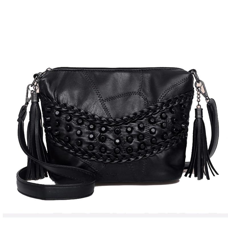 fashion sheepskin rivet design women bag High quality soft black women shoulder bag bolsos mujer bags for women 2017 sac a main