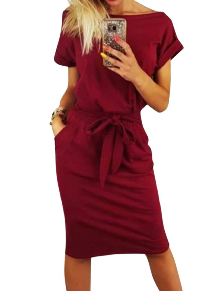 mrwonder Women Round Collar Solid Color Belted Waist Dress Short Sleeve Slim Medium Dress