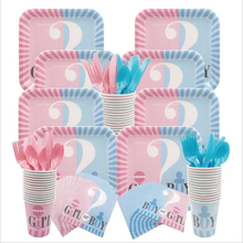 Omilut Baby Gender Reveal Partyware Kit Pink Girl Blue Boy Disposable Plates Cups Napkins and Banner Shower