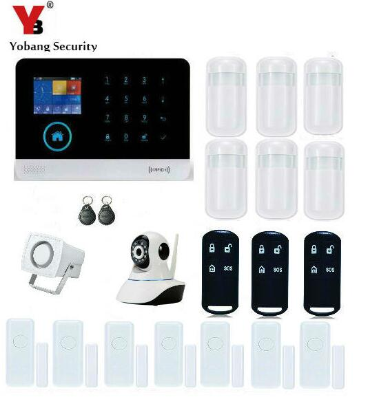 YobangSecurity Wireless Wifi GSM RFID Burglar Security Alarm System Diy Auto Dial Kit PIR Motion Detector Door Window Sensor APP yobangsecurity wifi alarm system wireless flash siren gsm burglar alarm g90b touch keypad app pir detector door gap sensor