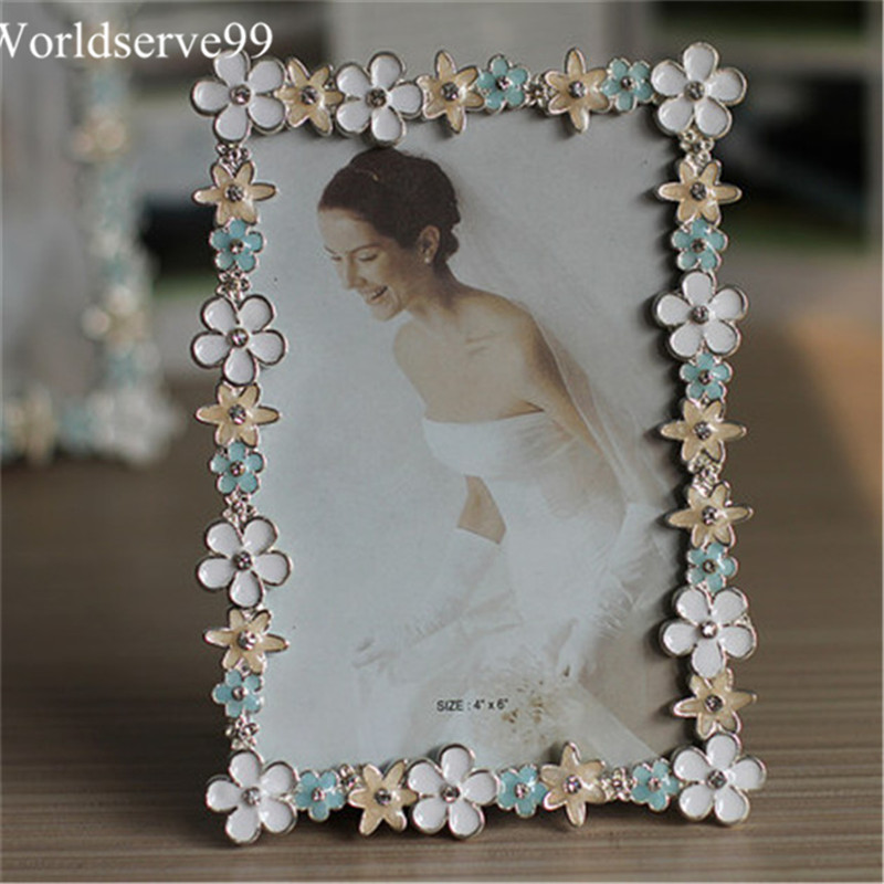 6inch europe colorful flower rhinestone wedding photo frames metal home decor bridal baby shower favor frames