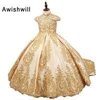 2018 Royal платье с цветочным узором для девочек для свадеб Атлас Кружево бисером бальное платье для вечеринок для девочек платье для причастия