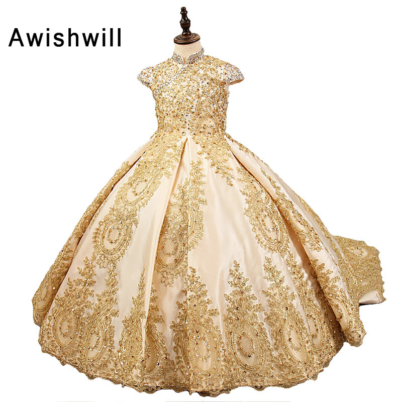 2019 Royal Flower Girl Dress for Weddings Satin Lace Beaded Ball Gown Girl Party Communion Dress Pageant Gown Gold Color
