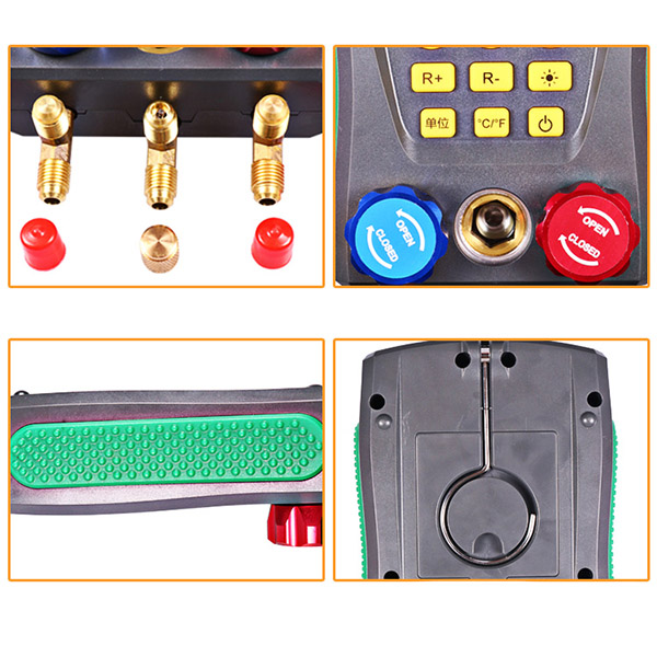 Digital Manifold Gauge Refrigeration Pressure Tester HAVC 2-Way Valve Tool @8 JDH99 wk vg88 conditioner refrigeration single manifold vacuum gauge manifold gauge tool electrical pressure digital gauge manifold