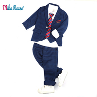 5pcs New children's suits boys striped blue blazers toddler baby flower boy formal tuxedo kids party casual blazer 3 12Years