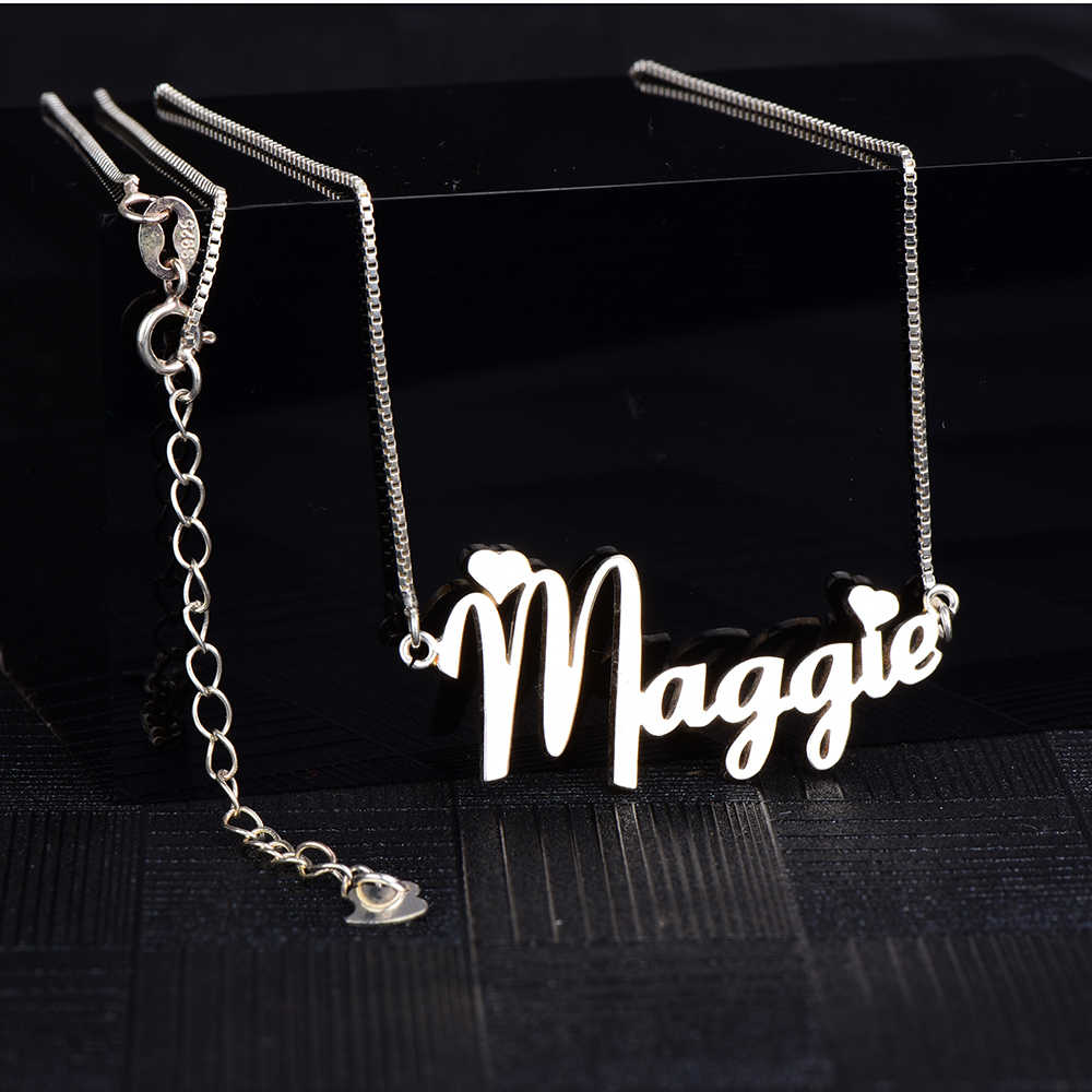 RainMarch Personalized 925 Silver Name Necklace Women Custom Necklaces & Pendants Customiz Necklace Birthday Gift Dropshipping