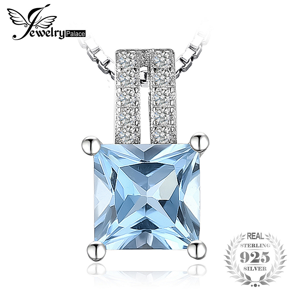 JewelryPalace 1.3ct  Princess Cut Sky Blue Topaz Wedding Anniversary Pendant Pure 925 Sterling Silver Charm Not Include A ChainJewelryPalace 1.3ct  Princess Cut Sky Blue Topaz Wedding Anniversary Pendant Pure 925 Sterling Silver Charm Not Include A Chain
