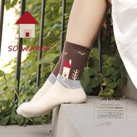 Winter Plus Thick Warm Wool Women Socks Fashion Design Color Sweet Print Home House Socks Thicken Terry Towel Christmas Socks