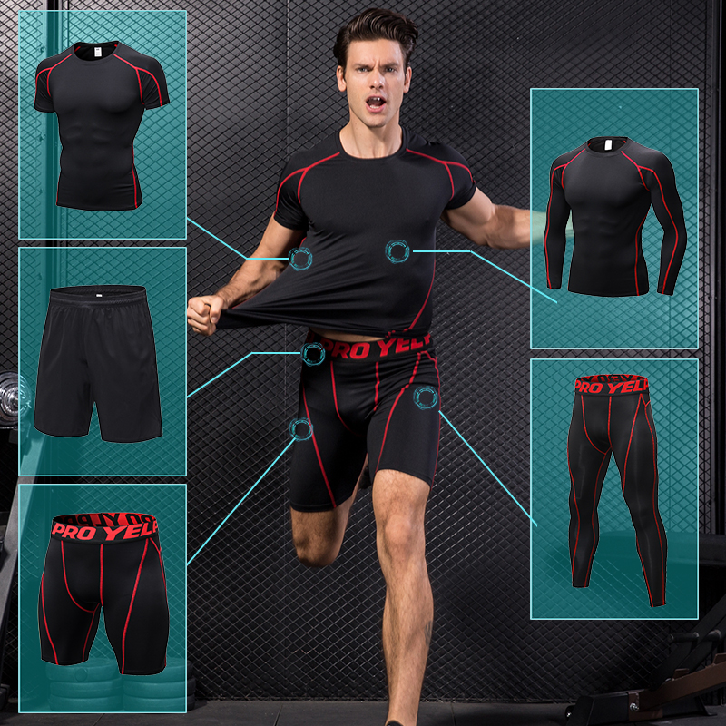 Yuerlian Autumn Sport Jogging Suit For Men Copression Tracksuit Boldbuding Running Set T shirt Short Pantsuits