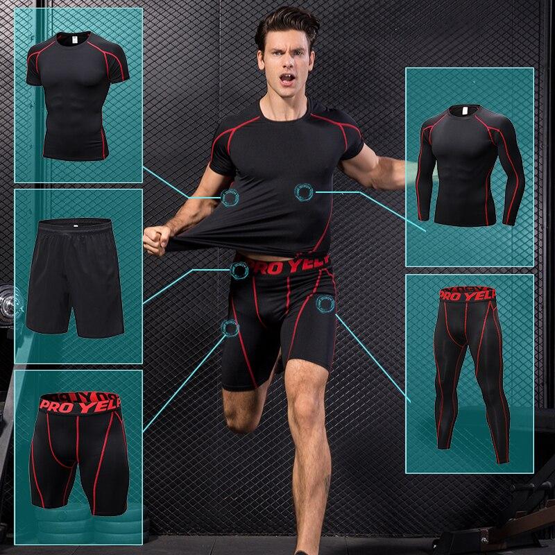 Yuerlian automne Sport Jogging costume pour hommes Copression survêtement Boldbuding course ensemble T-shirt court pantalons séchage rapide