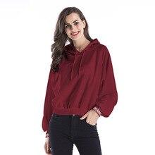 YYFS 2019 New Cotton Fall Pocket Drawstring Hoodies Women Raglan Solid Long Sleeve Fashion Letter Print Hooded Sweatshirt