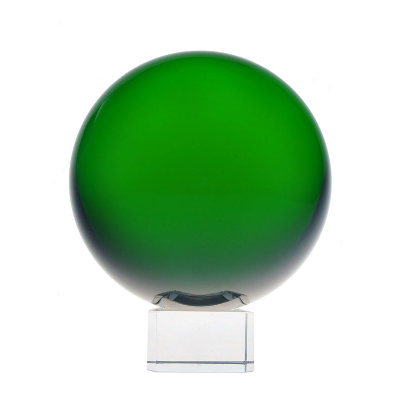 100mm Green Magic Crystal Ball Feng Shui Home Decor Glass Ball with base Good Luck Wedding Gift Fashion Exercise Transparent
