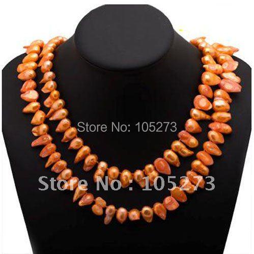 Потрясающие! Жемчуг ожерелье AA 14 - 19 мм оранжевый цвет подлинная пресной воды жемчуг неправильная формирователь 48''inch длинная ожерелье