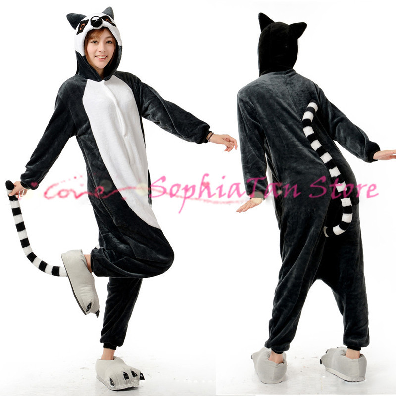 Anime Animal Long Tail Cat Onesie For Adult Women Men Cosplay Costume Pajamas Christmas Halloween Dress Party Flannel Outwear