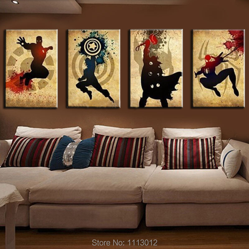 Les Avengers! Iron man, Thor Captain America, Spiderman! Peinture à l'huile abstraite moderne faite à la main Marvel Comics Art de toile de super-héros - 2