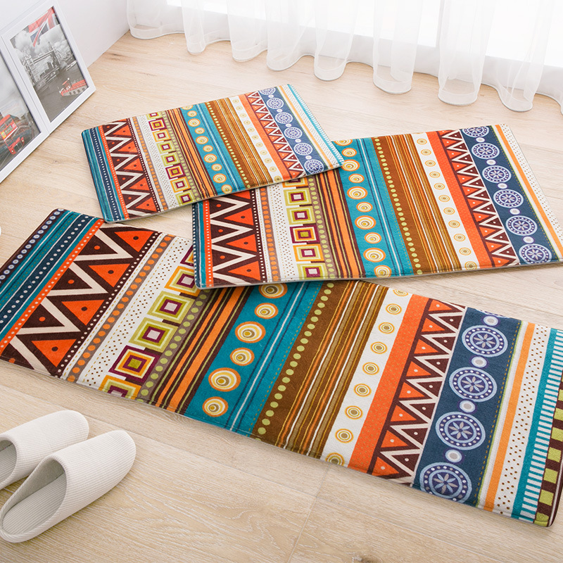 Bohemian style flannel carpet mats/doormat entrance hall bedroom kitchen bathroom carpet anti-slid absorbent rug free shipping