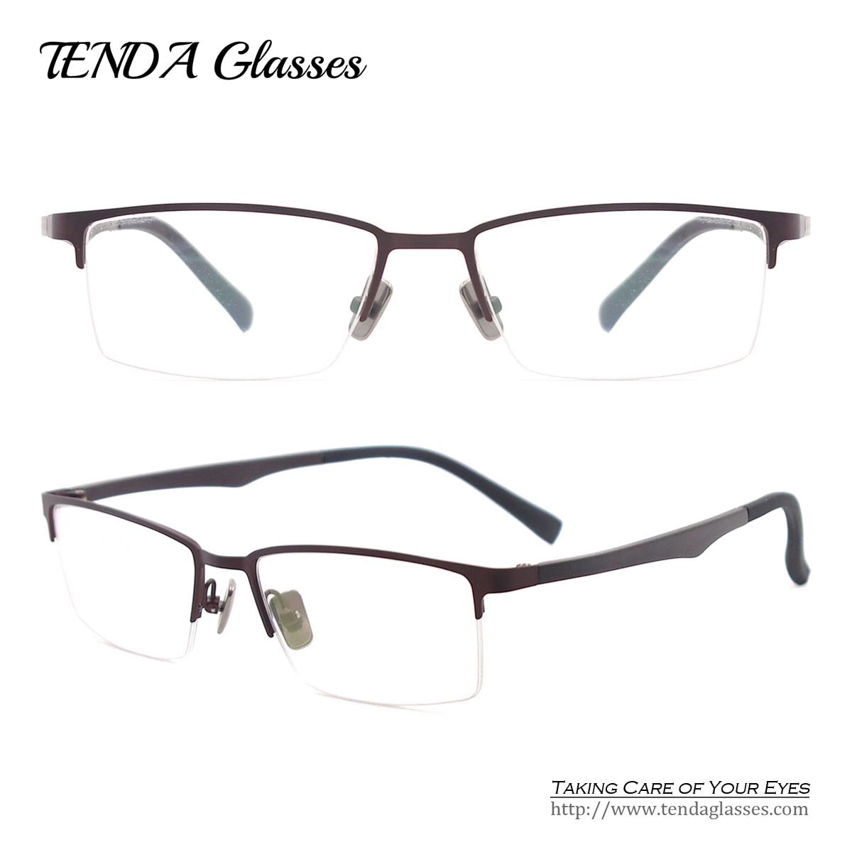 Bendable Metal Eyeglass Frames : Metal Half Rim Spectacles Flexible Eyeglasses Fashion ...
