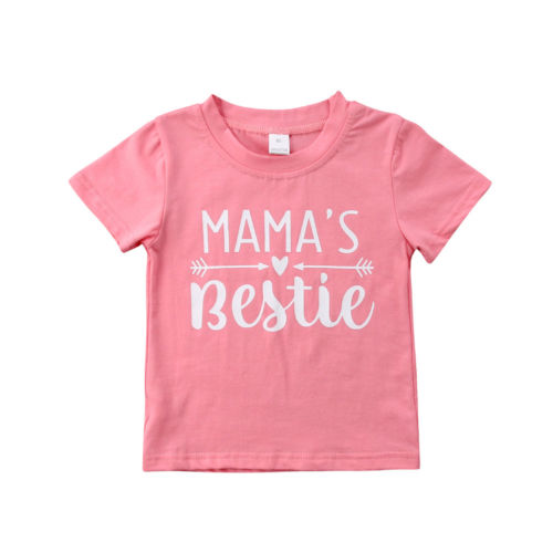 Cotton Short Sleeve Baby T Shirt Letters Print Summer Kids Girls Tees T Shirts Tops Clothes 1-6Y
