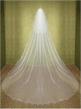 2015 Aesthetic wedding veils 3 meters long double layers rhinestones White Bridal veils With comb velos de novia