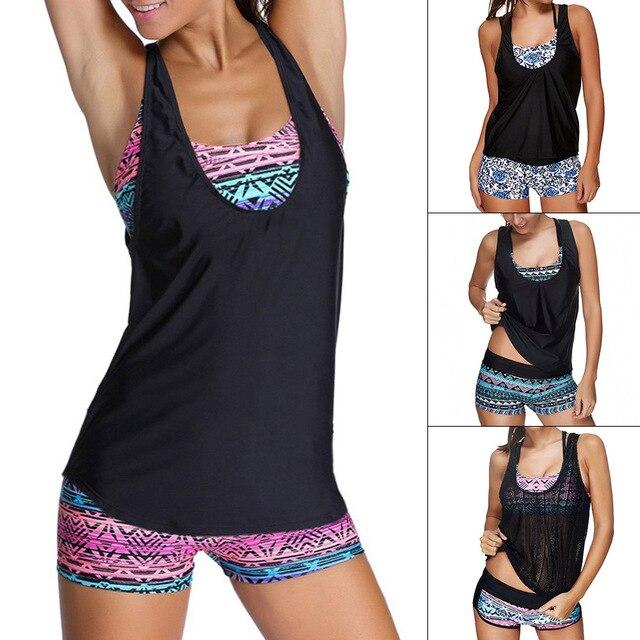 51d14e499 Mayo Tankini Maio Feminino 2018 Duas Peças de Biquini Plus Size Cintura  Alta Swimwear women Maiô ...