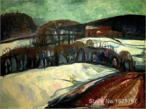 modern colorful paintings Das rote Haus im Schnee by Edvard Munch High Quality Hand paintedmodern colorful paintings Das rote Haus im Schnee by Edvard Munch High Quality Hand painted